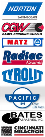 Norton Saint Gobain, CGW Camel Grinding Wheels, MATZ, Radiac Abrasives, Tyrolit, Pacific, Bates Abrasives, Cincinatti Milacron